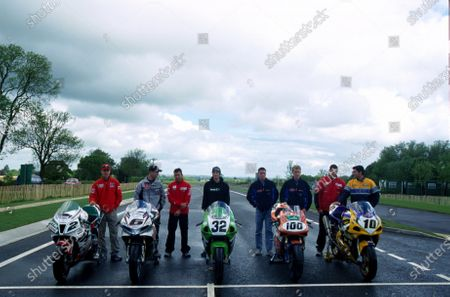 World Superbike riders help open the new road leading to Silverstone (L-R) Colin Edwards (USA), Peter Goddard (AUS), Troy Bayliss (AUS), Eric Bostrom (USA), James Toseland (GBR), Neil Hodgson (GBR), Ruben Xaus (ESP) and Gregorio Lavilla (ESP). Silverstone Phase 1 Road Completion, Silverstone, England. 23 May 2002.