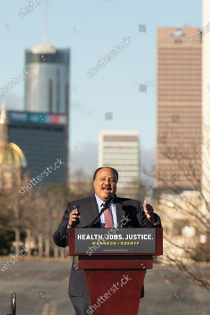 """Martin Luther King III speaks at the """"Early Vote Kick-off Car Rally & Concert"""" in Atlanta, Georgia."""