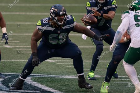 Seattle Seahawks offensive lineman Damien Lewis is pictured during the second half of an NFL football gamem against the New York Jets, in Seattle. The Seahawks won 40-3
