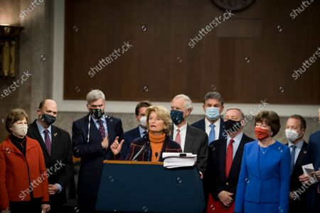 Stock Photo of United States Senator Lisa Murkowski (Republican of Alaska) joins a bipartisan group of US Senators announcing the legislative text of the two bipartisan, bicameral COVID-19 emergency relief bills that propose to provide up to $908 billion in emergency relief on Capitol Hill in Washington, DC. The first will allocate $748 billion for more PPP assistance and an unemployment benefit; and a second $160 billion bill to provide aid for state and local governments and liability protections for businesses.