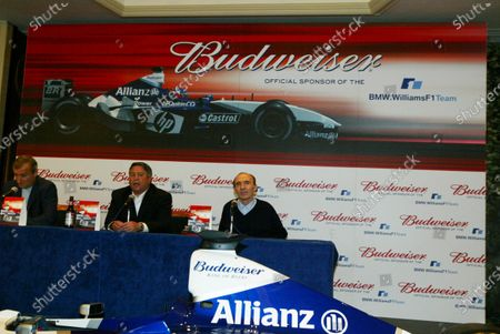 (L to R): Jim Rosenthal (GBR), Tony Ponturo (USA) Frank Williams (GBR) Williams Team Principal  BMW Williams F1 Team announce the official sponsorship of Anheuser-Busch and their Budweiser brand. 16 July 2003, London, England. DIGITAL IMAGE