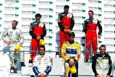 (L to R) Indipendant winner James Kaye (GBR) Synchro Motorsport, 3rd placed Yvan Muller (FRA) VX Racing, 3rd place Alan Blencowe (GBR) Barwell Motorsport, winner Paul O'Neill (GBR) VX Racing, winner Luke Hines (GBR) Barwell Motosport, 2nd place James Thompson (GBR) VX Racing and 3rd place Mark Fullalove (GBR) Techspeed. British Touring Car Championship, Snetterton, England, 8-9 August 2003. Digital Image