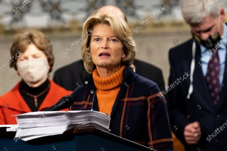 Stock Picture of U.S. Senator Lisa Murkowski (R-AK) speaks at a press conference to introduce a bipartisan and bicameral COVID relief bill.