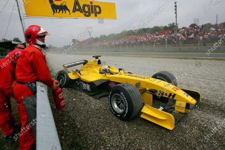 Stock Image of Giorgio Pantano (ITA) Jordan EJ14 span out of the race. Formula One World Championship, Rd15, Italian Grand Prix, Race Day, Monza, Italy, 12 September 2004. DIGITAL IMAGE