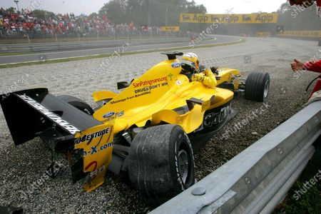 Stock Picture of Giorgio Pantano (ITA) Jordan EJ14 span out of the race. Formula One World Championship, Rd15, Italian Grand Prix, Race Day, Monza, Italy, 12 September 2004. DIGITAL IMAGE BEST IMAGE