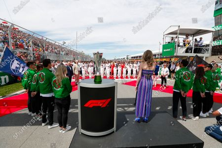 Stock Image of Serena Ryder sings the National Anthem prior to the start.