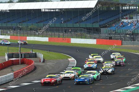 Race Start Ricardo Sanchez / Struan Moore Team RJN Nissan GT-R NISMO GT3 leads