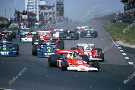 Stock Photo of The second start: James Hunt, McLaren M23 Ford, leads Clay Regazzoni, Ferrari 312T2, and both Tyrrell P34 Ford's of Patrick Depailler and Jody Scheckter.