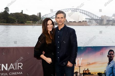 Stock Image of Eric Bana with his wife Rebecca Gleeson walks the black carpet for the film premiere 'The Dry'