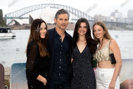 Stock Picture of Eric Bana with his wife Rebecca Gleeson, daughter Sophie and niece Jasmine Taylor walks the black carpet for the film premiere 'The Dry'