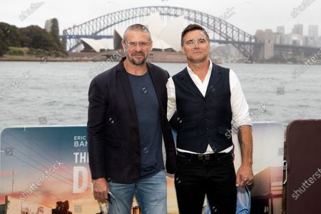 Stock Picture of Matthew Nable and Jeremy Lindsay Taylor walks the black carpet for the film premiere 'The Dry'