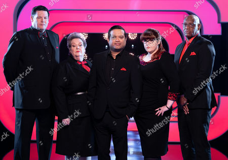 (L-R) Mark Labbett, Anne Hegerty, Paul Sinha, Jenny Ryan and Shaun Wallace.