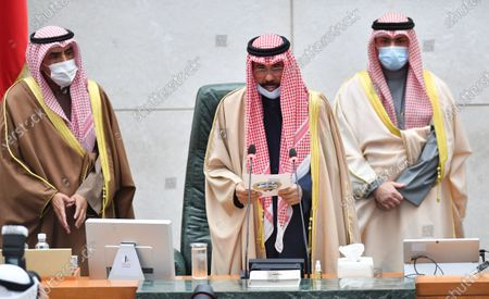Stock Image of Emir of Kuwait, Sheikh Nawaf Al-Ahmad Al-Jaber Al-Sabah (C) inaugurates first regular term of the 16th Legislative Session of the National Assembly, in Kuwait City, Kuwait, 15 December 2020. Kuwaiti general election was held on 05 December 2020.