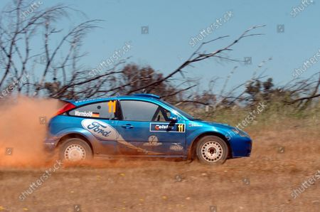 Anthony Warmbold (GER) with co-driver Gemma Price (GBR) Ford Focus WRC 02 on stage 11. FIA World Rally Championship, Rd 16, Telstra Rally Australia, Perth, Australia, Leg Two, 11-14 November 2004. DIGITAL IMAGE