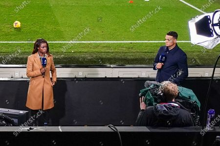 Stock Photo of Eniola Aluko and Jermaine Jenas present the Amazon Prime Video Premier League coverage at Craven Cottage