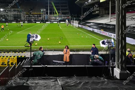 Kelly Somers, Eniola Aluko and Jermaine Jenas present the Amazon Prime Video Premier League coverage at Craven Cottage