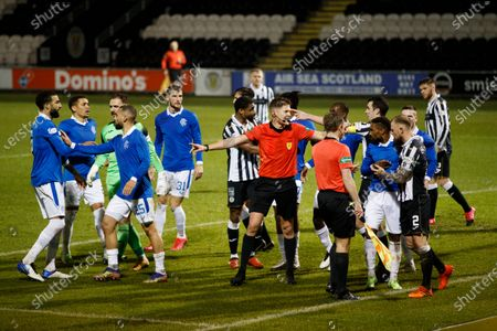 Referee David Dickinson splits up the players after Rangers draw level at 2-2.