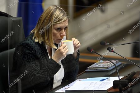 Stock Photo of Chamber chairwoman Eliane Tillieux pictured during a plenary session of the Chamber at the Federal Parliament in Brussels, Tuesday 15 December 2020.