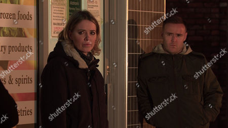Coronation Street - Ep 10211 & Ep 10212 Friday 1st January 2021 As Abi Franklin, as played by Sally Carman, and Tyrone Dobbs, as played by Alan Halsall, lead a boycott outside Dev Alahan's shop, Roy Cropper breaks the news that the planning office has ruled against the development.