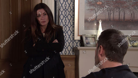 Coronation Street - Ep 10211 & Ep 10212 Friday 1st January 2021 Carla Connor, as played by Alison King, tears a strip off Peter Barlow, as played by Chris Gascoyne, for doing a disappearing act, but she's brought up short when he reveals that he's been in hospital with liver failure.