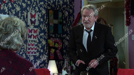 Stock Picture of Coronation Street - Ep 10214 Monday 4th January 2021 - 2nd Ep Arthur Medwin, as played by Paul Copley, breaks the news that he's moving back to Canada tomorrow and suggests that she should come with him, Evelyn's stunned.