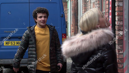 Stock Picture of Coronation Street - Ep 10215 Wednesday 6th January 2021 - 1st Ep Simon Barlow, as played by Alex Bain, tries to calm a hysterical Kelly Neelan, as played by Millie Gibson, when he catches her trying to break into Gary's shop, wanting justice for her dad.