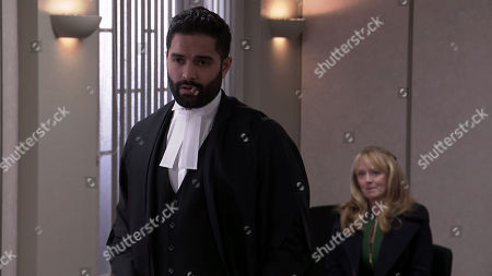 Coronation Street - Ep 10217 & Ep 10218 Friday 8th January 2021 Imran Habeeb, as played by Charlie de Melo, asks the judge to show leniency in Johnny Connor's, as played by Richard Hawley, sentence, citing his genuine remorse and poor health.