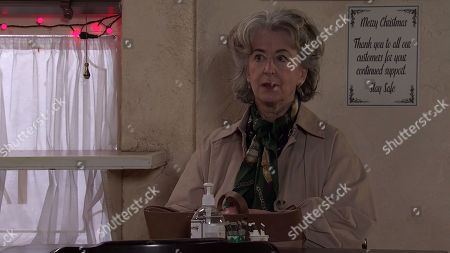 Coronation Street - Ep 10208 & Ep 10209 Wednesday 30th December 2020  Arthur calls at the cafe with a belated Christmas present for Evelyn Plummer, as played by Maureen Lipman. Evelyn gives him short shrift and Arthur heads out deflated, leaving the present on the table.