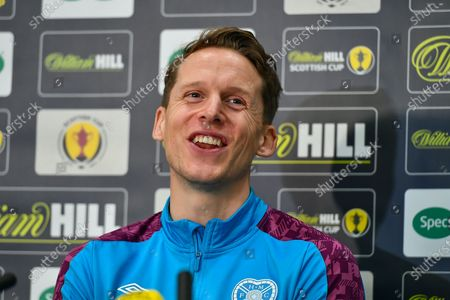 Christophe Berra (#6) of Heart of Midlothian FC speaks to the media during the Heart of Midlothian press conference, media and training session, ahead of the William Hill Scottish Cup Final, at the Oriam Sports Performance Centre, Edinburgh., *** EMBARGOED UNTIL 16/12/2020 ***