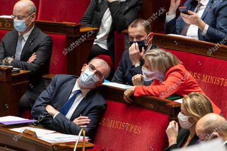 Stock Image of French Prime Minister Jean Castex and French Junior Minister in charge of Disabled People Sophie Cluzel