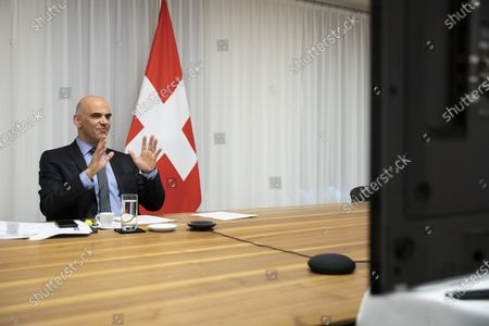 Swiss Federal Councillor and health minister Alain Berset speaks during a virtual meeting with European Ministers on vaccine strategies, in Bern, Switzerland, December 15, 2020.