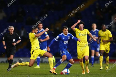 Kayden Jackson of Ipswich Town in action with Colin Daniel (L) and Joe Powell (R) of Burton Albion - Ipswich Town v Burton Albion, Sky Bet League One, Portman Road, Ipswich, UK - 15th December 2020Editorial Use Only - DataCo restrictions apply