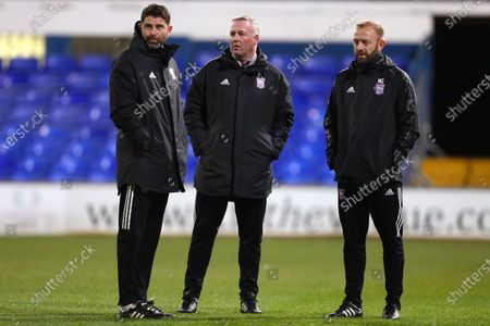 Manager of Ipswich Town, Paul Lambert (C), Assistant Manager, Stuart Taylor (L) and First Team Coach, Matt Gill (R) - Ipswich Town v Burton Albion, Sky Bet League One, Portman Road, Ipswich, UK - 15th December 2020Editorial Use Only - DataCo restrictions apply