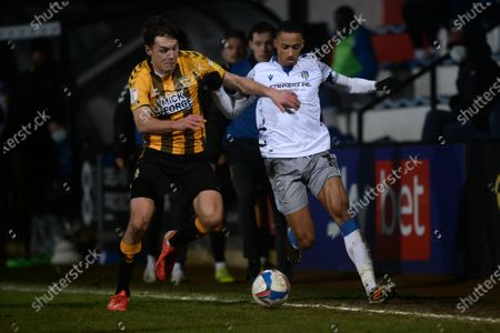 Stock Image of Cohen Bramall of Colchester United does battle with Paul Digby of Cambridge United - Cambridge United v Colchester United, Sky Bet League Two, Abbey Stadium, Cambridge, UK - 15th December 2020Editorial Use Only - DataCo restrictions apply