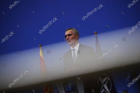 Secretary General Jens Stoltenberg talks during a joint press conference with Montenegro Prime Minister Zdravko Krivokapic at the NATO headquarters in Brussels