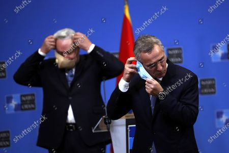 NATO Secretary General Jens Stoltenberg (R) and Montenegro Prime Minister Zdravko Krivokapic (L) give a joint press conference following their talks at the NATO headquarters in Brussels, Belgium, 15 Decmber 2020.