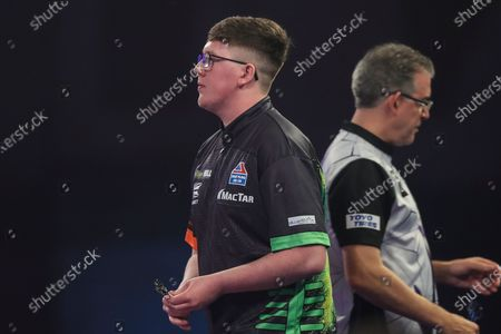 Keane Barry in his first round match against Jeff Smith during the William Hill World Darts Championship at Alexandra Palace, London