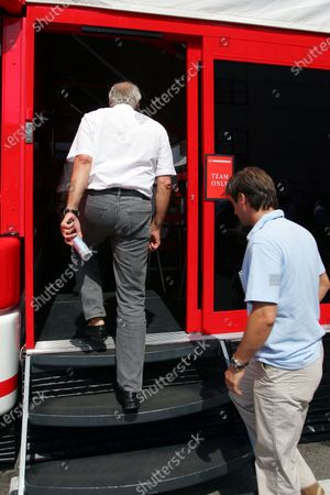 Dietrich Mateschitz (AUT) CEO and Founder of Red Bull and Dany Bahar, Red Bull go into the Ferrari motorhome. Formula One World Championship, Rd13, Hungarian Grand Prix, Qualifying Day, Hungaroring, Hungary, 30 July 2005. DIGITAL IMAGE
