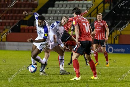 Shrewsbury Town Defender Ro-Shaun Williams wins \ defensive tackle during the EFL Sky Bet League 1 match between Lincoln City and Shrewsbury Town at Sincil Bank, Lincoln