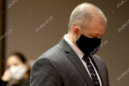 """Stock Image of Former Illinois Department of Children and Family Services supervisor Andrew Polovin, who oversaw former DCFS caseworker Carlos Acosta and his case on Andrew """"AJ"""" Freund, appears in court inside Judge Robert Wilbrandt's courtroom at the Michael J. Sullivan Judicial Center, in Woodstock, Ill"""