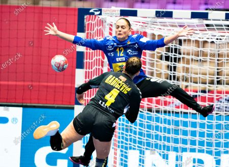Stock Photo of Goalkeeper Silvia Navarro of Spain in action during the EHF Euro 2020 European Women's Handball Main Round Group 1 match between Montenegro and Spain at Jyske Bank Boxen in Herning, Denmark, 15 December 2020.