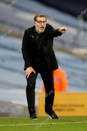 West Bromwich's manager Slaven Bilic gives instructions to his players during the English Premier League match between Manchester City and West Bromwich Albion FC in Manchester, Britain, 15 December 2020.