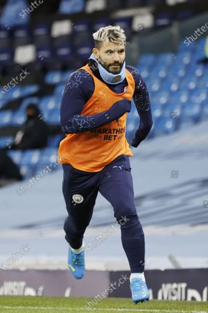 Sergio Aguero of Manchester City warms up  during the English Premier League match between Manchester City and West Bromwich Albion FC in Manchester, Britain, 15 December 2020.