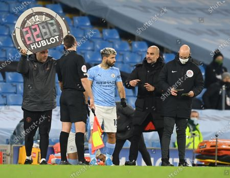 Sergio Aguero of Manchester City comes on the pitch during the English Premier League match between Manchester City vs West Bromwich Albion FC in Manchester, Britain, 15 December 2020.
