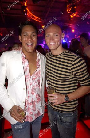 Olympic swimmers Geoff Huegill (AUS) and Michael Klim (AUS). Red Bull Racing Welcome Party, Formula One World Championship, Rd1, Australian Grand Prix, Preparations, Albert Park, Melbourne, Australia, 3 March 2005. DIGITAL IMAGE