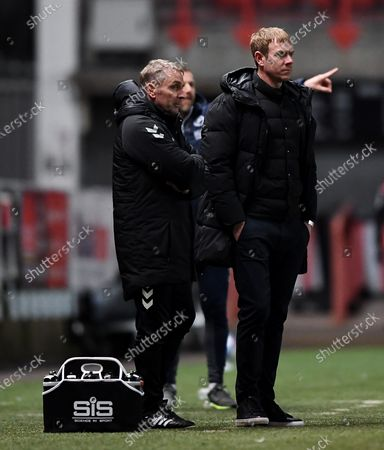 Bristol City manager Dean Holden and Paul Simpson