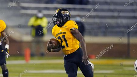 Southern Mississippi running back Frank Gore Jr. (21) sprints 73-yards for a touchdown during the first half of an NCAA college football game against Florida Atlantic, in Hattiesburg, Miss