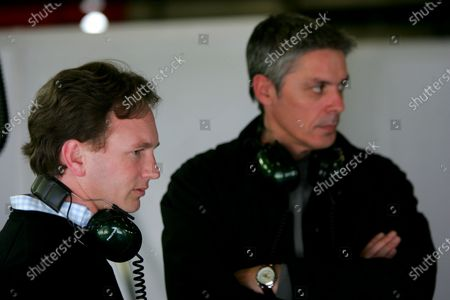 Stock Photo of Christian Horner (GBR) Red Bull Racing Team Principal chats with Tony Burrows (GBR) Red Bull Test Team Manager. Formula One Testing, Barcelona, Spain, 19 January 2005. DIGITAL IMAGE