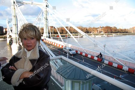 Elaine Paige Singer Who Is Annoyed At All The Plastic Bollards On Albert Bridge.