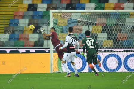 """Juan Agustin Musso (Udinese)Ignacio Pussetto (Udinese)Emmanuel Riviere (Crotone)           during the Italian """"Serie A"""" match between Udinese 0-0 Crotone  at  Dacia Stadium in Udine, Italy."""